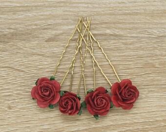 Flower Bobby Pin, Burgundy Bobby Pin, Rose Hair Pins, Wine Hair Clip, Wine Bobby Pin, Wedding Hair Accessories, Paper Flower Bobby Pins