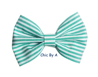 """Hair Bow,Green Hair Bow,White,4"""" inch Hair Bow,Green Hair Bow,Hair Bow With stripes,Chic,European,Vintage,Bow Tie,Baby,Girls,Toddler"""