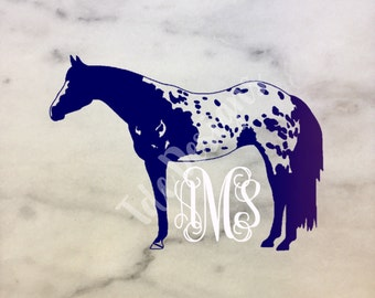 Appaloosa Horse Monogram Vinyl Car Decal - equestrian sticker