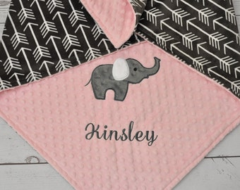 Personalized Baby blanket-Personalized Arrow Baby Blanket-Elephant Minky blanket-Personalized Arrow Minky Blanket-Minky baby blanket