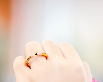 """Lovely Cute Hand Painting Enamel Pencil Ring (""""Dear Student Project"""")"""