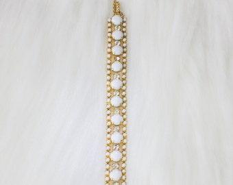 Vintage Milk Glass Gold Bracelet