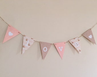 "4"" Handmade Love Bunting / Banner"