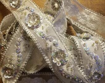 Indian silk silver jeweled ribbon