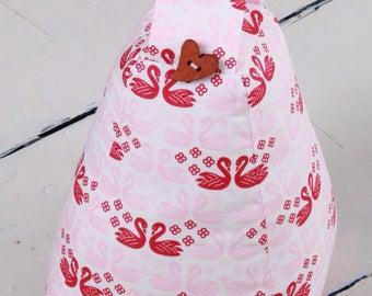 Fabric doorstop, Swans, pink, red, Door Stop ,Shabby Chic. Pre filled, handmade
