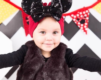 All black ears and bow turban