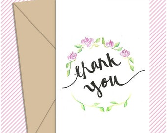 Thank You - Floral Greeting Card - Printable Greeting Card - Instant Download - Thanks