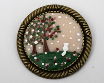 White Cat in Spring Time Brooch. Lovely Vintage Hand Painted Cameo Brooch Polymer Clay Jewelry Nickel Free Antique Bronze