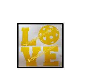 LOVE PICKLEBALL Decal - use on a Yeti, RTIC, or Ozark cup, Car window, Walls, Home Windows, Ice Chests and more