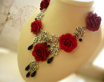 Burgundy necklace Roses necklace Flower bib necklaces Red necklace Unusual jewelery Red Jewelry Gifts for Her Clay necklace