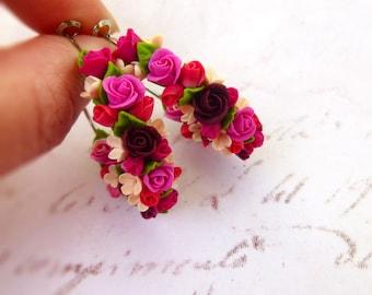 Large Hoop Earrings Real Flower Earrings Pink Hoop Earrings Boho Earrings Bohemian Earrings Сircle earrings Roses Earrings