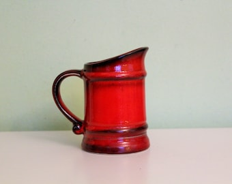 Vintage Red Ceramic Coffee Mug, Tea Mug, Drinking Cup, Beer Stein Red Pottery, German, made in West Germany, Small Pitcher