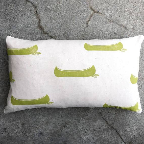 "Organic canvas lumbar pillow cover 14"" by 24"" featuring drifting canoes in chartreuse home decor cottage decor accent pillow"