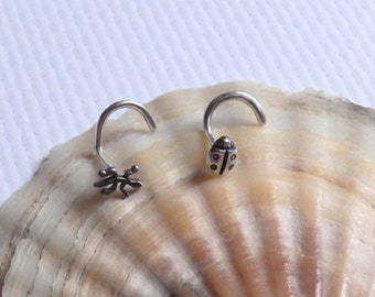 2 unique sterling silver nose studs, little lizard ladybug nose stud, animal nose stud, left nose screw, silver nose piercing jewelry