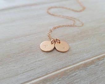 Double rose gold initial charm disc necklace | double initials | 21st 25th 30th| bridesmaid gift |mothers day| wedding | anniversary |
