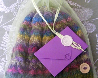 In the Mix - Hand Knitted Cabled Beret Hat  - Noro Hanabatake