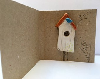 Handmade birdhouse brooch ceramic - flowers quirky