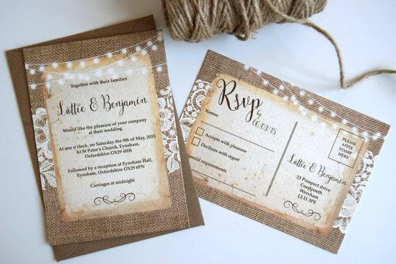 Rustic Burlap & Lace Wedding Invitation Set Sample