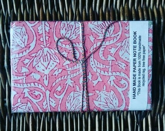 Notebooks, Recycled rag, tree free paper, blockprint, ganesha, stationary, gifts for her