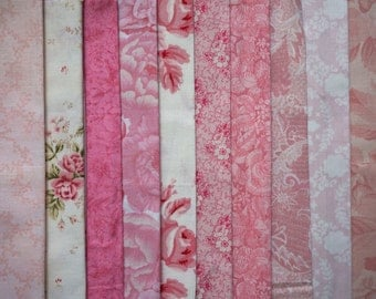 Assorted Shabby Chic Pink Fabric - Fat Quarter Bundle - 10 pieces