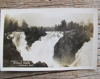 Sauble River Falls Massey Ontario (posted) / Waterfalls real photo postcard / northern Ontario RPPC