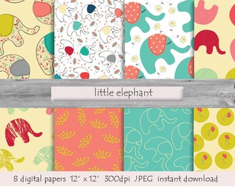 DIGITAL PAPER Little Elephant  pattern  instant download  milk white  pink  turquoise yellow
