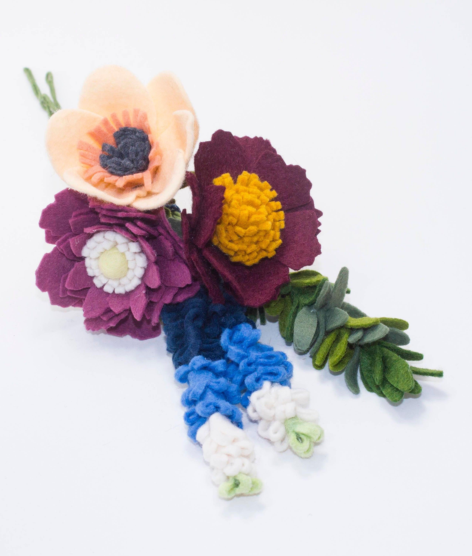 Wool Blend Felt Flower Bouquet With Texas Bluebonnets And