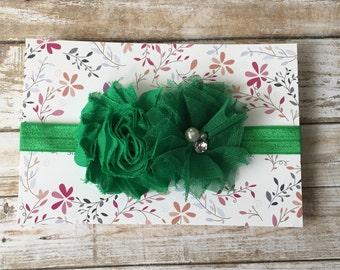 Green Headband, Green Baby Headband, Christmas Headband, St. Patricks Day Headband, Baby Headband, Infant Headband, Newborn Headband, Baby