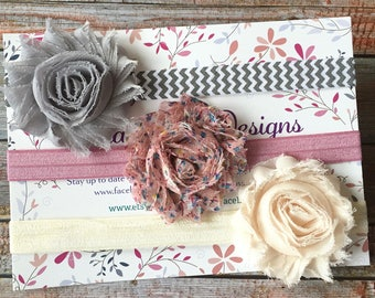 3 Vintage Baby Headbands/Baby Headband Set/Baby Headbands/Newborn Headbands/Toddler Headbands/Baby Girl Headbands/Shabby Chic Headbands/Bows