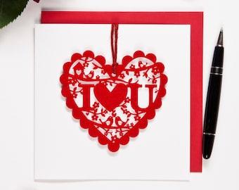 I Love You Valentine's Card - Keepsake Laser cut felt valentine's card