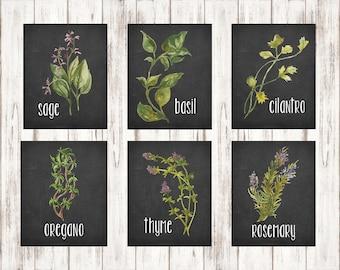 Herb Print Set, Chalkboard Herb Set, Botanical Print Set, Chalkboard Herbs, Herb Wall Art, Botanical Wall Art, Herb Decor, Botanical Deccor