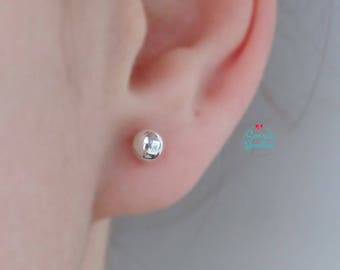 Silver Balls Pendants Stud Earrings | Silver Balls Earrings | Silver Ball Stud | Tiny Silver Ball Stud | Sterling silver ball earrings |