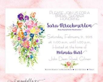 Bridal Shower Invitation - Floral Bouquet - Wedding Shower Invitation - Custom Invitation