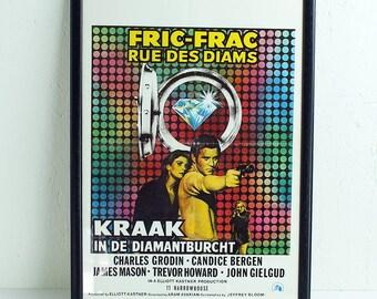 Vintage film poster - framed original 1970s Belgian film poster for 11 Harrowhouse or Fric-Frac Rue Des Diams - vintage movie poster