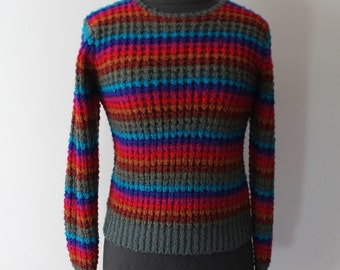 Vintage 1980s Rainbow Stripe Sweater - 70s 80s Fitted Stripe Pullover Sweater - Size Small, Medium