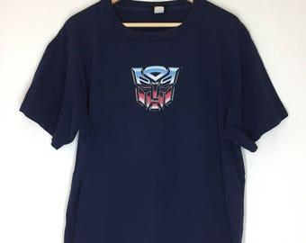 Rare! Vintage 90s Transformers Autobot Logo Beast Wars Transmetals Robot Animation Movie Promo Cybertron Optimus Prime Shirt Size Large
