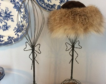Vintage mesh metal hat display or wig stand