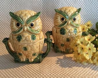 Vintage owl salt pepper shakers set figural novelty sugar dish bowl mid century
