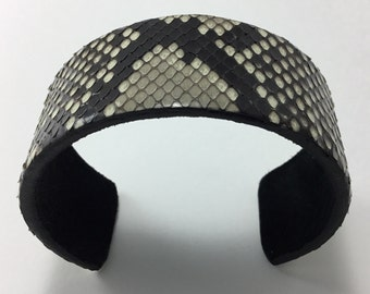 Handmade genuine Python snakeskin adjustable cuff bracelet with suede inside