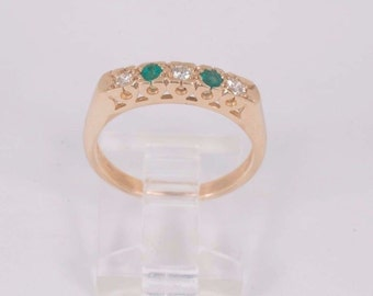 14K Yellow Gold Band with Diamond and Emerald Chips , size 6.25
