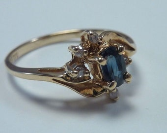 14K Yellow Gold Sapphire and Diamond Ring, grams,  size 6