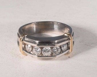 14K White and Yellow Gold Mens 5 Diamond Ring with app. 1 ct. tw., Size 10.5