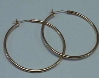 """14K Yellow Gold Hoop Earrings 1-5/16"""" Diameter"""