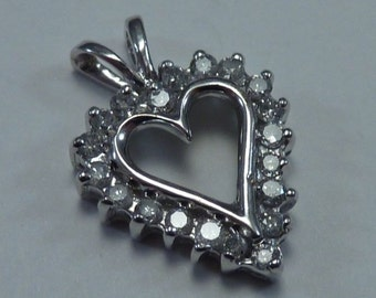 10K White Gold Heart Pendant with Diamonds
