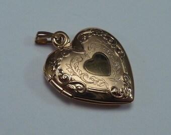 10K Yellow Gold Heart Shaped Locket