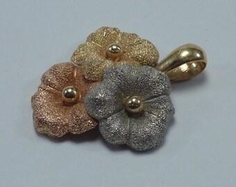 "18K Tri Color Gold ""Flower"" Pendant"
