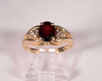 14K Yellow Gold Garnet and Diamond Chip Ring, size 6.5
