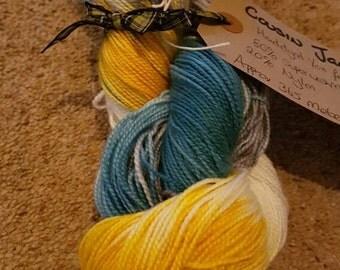 Hand dyed sock yarn 100g Cousin Jack