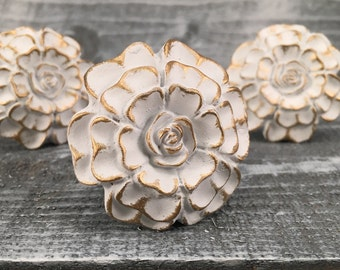 Flower Knobs, Decorative White & Gold Floral Drawer Knob, Instant Furniture Upgrade Drawer Pulls, French Country Style, Item #500962898
