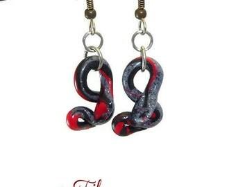 Earrings Pendentes snake Snake Lucky Fimo grey red black - handmade